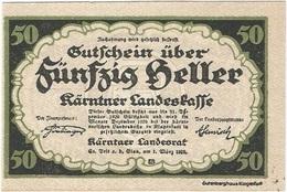 Austria (NOTGELD) 50 Heller Kärntner 1-3-1920 Kon 427 3 UNC - Austria