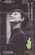 Télécarte Japon / 110-011 - Cinema - AUDREY HEPBURN - Japan Movie Star Phonecard - Kino TK / Pub Montre Citizen - 11500 - Cinéma