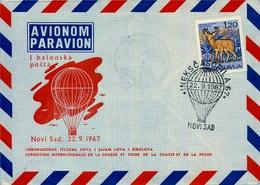 """1967 , YUGOSLAVIA , NOVI SAD , """" BALONSKA POSTA """" , SOBRE CONMEMORATIVO , GLOBOS , AEROSTACIÓN - 1945-1992 República Federal Socialista De Yugoslavia"""