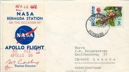 1972 , BERMUDA , ST. GEORGES - LUZERNA , SOBRE CONMEMORATIVO , NASA BERMUDA STATION - APOLLO FLIGHT - Bermudas