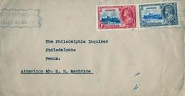 1937 , BERMUDA , SOBRE CIRCULADO , HAMILTON - PHILADELPHIA , YV. 101 , 102 , BERMUDA HOTELS INCORPORATED , CORONACIÓN - Bermudas