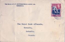 1938 , BERMUDA , SOBRE CIRCULADO , HAMILTON - TORONTO , THE BANK OF N.T. BUTTERFIELD & SON , L.T.D. - Bermudas