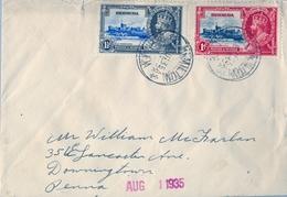 1935 , BERMUDA , SOBRE CIRCULADO , HAMILTON - DOWNINGTOWN , CORONACIÓN DE JORGE VI , YV. 101 , 102 - Bermudas