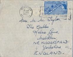 1958 , BERMUDA , SOBRE CIRCULADO , HAMILTON - YORKSHIRE , YV. 155, MAPA DE LA ISLA - Bermudas