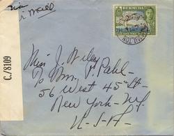 1942 , BERMUDA , SOBRE CIRCULADO , HAMILTON - NEW YORK , CORREO AÉREO , BANDA DE CENSURA  , YV. 112 , PHAETON , AVES - Bermudas