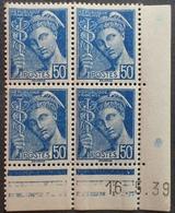 R1615/482 - 1939 - TYPE MERCURE - BLOC N°414A TIMBRES NEUFS** CdF Daté - Coins Datés