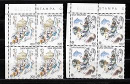1982 San Marino Saint Marin EUROPA CEPT EUROPE NAPOLEONE 4 Serie Di 2v. Quartina MNH** Bl.4 - Rivoluzione Francese