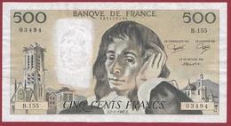"500 Francs ""Pascal"" Du 07/01/1982.J----F/TTB+-----ALPH B.155 - 1962-1997 ''Francs''"