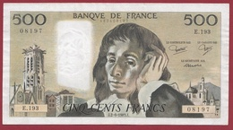 "500 Francs ""Pascal"" Du 02/06/1983.J----F/TTB+-----ALPH E.193 - 1962-1997 ''Francs''"