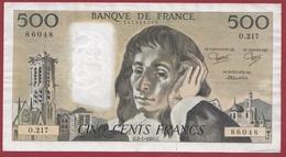"""500 Francs """"Pascal"""" Du 03/01/1985.C----F/TTB+-----ALPH O.217 - 1962-1997 ''Francs''"""