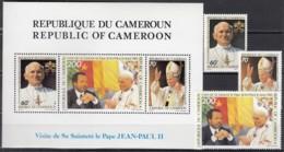 KAMERUN 1090-1092 + Block 24, Postfrisch **, Besuch Von Papst Johannes Paul II, 1985 - Kamerun (1960-...)
