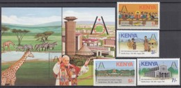 KENIA 343-346 +Block 25 Postfr. **, Papstreise, Papst Johannes Paul II. Auf Dem 43. Eucharist. Kongress In Nairobi, 1985 - Kenia (1963-...)