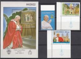 KOLUMBIEN 1668, 1674-1675 + Block 39, Postfrisch **, Besuch Von Papst Johannes Paul II, 1986 - Kolumbien