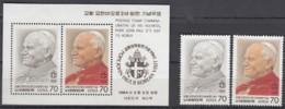 KOREA 1367-1368 + Block 486, Postfrisch **, Besuch Von Papst Johannes Paul II, 1984 - Korea (Süd-)