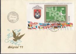 UNGARN Block 126 A, FDC, Europa Mitläuferausgabe:  KSZE 1977 - Europa-CEPT