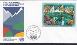 UNO GENF 194-197 4erBlock, FDC, Europa Mitläuferausgabe:  ECE Für Eine Bessere Umwelt 1991 - Europa-CEPT