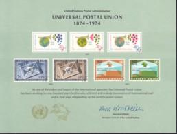 UNO NEW YORK, Erinnerungskarte EK 5, 100 Jahre UPU 1974 - New York -  VN Hauptquartier