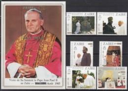 ZAIRE 897-902 + Block 52, Postfrisch **, Besuch Von Papst Johannes Paul II, 1985 - Zaire