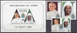 ZAIRE 928-930 + Block 56, Postfrisch **, Papst Johannes Paul II. Seligsprechung Von Schwester Anuarite Nengapeta, 1985/6 - Zaire