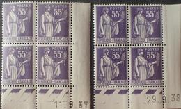R1615/499 - 1937/1938 - TYPE PAIX - BLOCS N°363 TIMBRES NEUFS** CdF Datés - 1930-1939