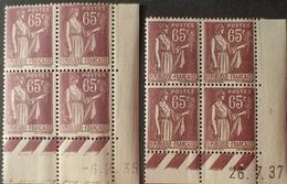 R1615/501 - 1935/1937 - TYPE PAIX - BLOCS N°284 TIMBRES NEUFS** CdF Datés - Dated Corners