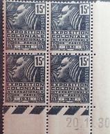 R1615/519 - 1930 - EXPOSITION COLONIALE INTERNATIONALE De PARIS - BLOC N°270 TIMBRES NEUFS** CdF Daté - 1930-1939