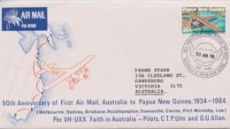 Papua New Guinea 1984 First Australia - PNG Flight, 50th Anniversary Cover - Papua New Guinea