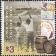 2013 Cocos Keeling Islands $3 VF Used Stamp, BARREL MAIL, SHIP, Old 3½d KGVI And ½d KANGAROO Stamps - Kokosinseln (Keeling Islands)