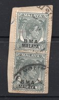 6c X 2 BMA  MALAYA Postally Used Stamps On Paper - Malaya (British Military Administration)