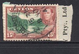 15c KGVI CEYLON Postally Used Stamp On Paper Dated  8 November 1941 - Ceylan (...-1947)
