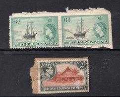 2d KGVI, 6d(2) QEII BRITISH SOLOMON ISLANDS Postally Used Stamps On Paper - Iles Salomon (...-1978)