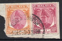 25c And 10c Values MALAYA SELANGOR Postally Used Stamps On Paper FROM 5 December 1950 - Selangor