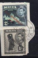 2/-, 1/- Values KGVI MALTA Postally Used Stamps On Paper  Dated VALLETTA, NOV 16 1936, Maltese Cross Postmark - Malte (...-1964)