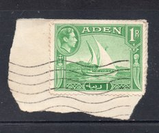 1R Value KGVI ADEN Postally Used Stamp On Paper , Dhow Shown On Stamp - Aden (1854-1963)