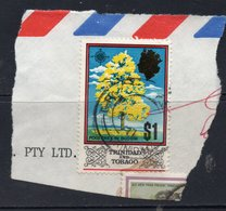 $1 Value TRINIDAD AND TOBAGO Postally Used Stamp On Paper, Postmarked 1977 - Trinidad Y Tobago (1962-...)