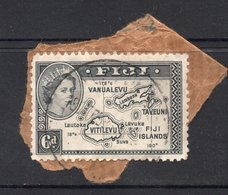 6d Value FIJI Postally Used Stamp On Paper , Postmarked Circa 1958 - Trinidad Y Tobago (1962-...)