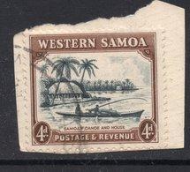 4d Value WESTERN SAMOA Postally Used Stamp On Paper , Postmarked Circa 1935 - Samoa