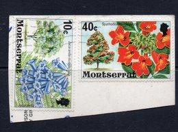 10c, 40c Values MONTSERRAT Postally Used Stamps On Paper, Postmarked Circa 1976 - Montserrat