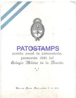 117179 ARGENTINA BUENOS AIRES JOUSTEN HOTEL COLEGIO MILITAR DE LA NACION AÑO 1942 MENU NO POSTAL POSTCARD - Altri