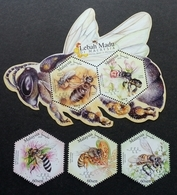 Malaysia Honey Bees 2019 Insect Bee Flower Fauna Flowers (stamp + Ms) MNH *odd Shape *unusual - Malasia (1964-...)