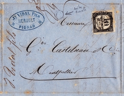 Lettre 1860 Pignan Hérault Vidal Fils Montpellier Timbre Taxe 10 Centimes - Taxes