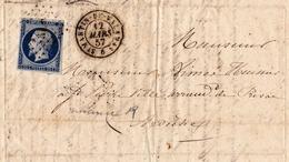 Lettre 1857 Saint Martin De Valamas Ardèche Lachapelle Timbre Napoléon III 20 Centimes - 1853-1860 Napoleon III