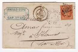 Lettre 1872 Gap Hautes Alpes Arnould Espié Saint-Bonnet En Champsaur Timbre Cérès 40 Centimes - 1871-1875 Cérès