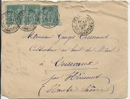LETTRE ADRESSEE à GEORGES TISSERAND à COISEVAUX - Postmark Collection (Covers)