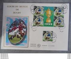 Premier Jour (FDC) Grand Format France 1999 : Coupe Du Monde De Rugby (bloc Feuillet + Timbre) - 1990-1999