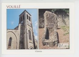 Vouille : L'église, Le Monolithe Et Le Sarcophage (cp Vierge N°0255) - Vouille