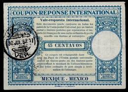 MEXICO / MEXIQUE Lo15 45 CENTAVOSInternational Reply Coupon Reponse Antwortschein IAS IRC O JALAPA 30.7.52 - Mexiko