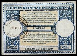 MEXICO / MEXIQUE Lo16n 1.30 PESO International Reply Coupon Reponse Antwortschein IAS IRC O ENTREGA INMEDIATA 22.6.61 - Mexique