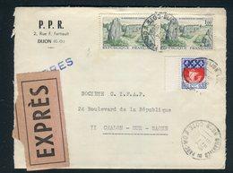 France - Enveloppe En Exprès De Dijon Pour Chalon/ Marne En 1966 - Réf AT 114 - Poststempel (Briefe)