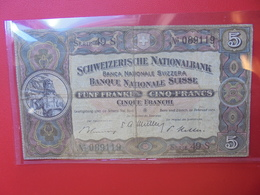 SUISSE 5 FRANCS 1951 CIRCULER (B.5) - Zwitserland
